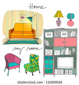 set of illustrated interior elements | bookshelf, sofa, lamp, couch