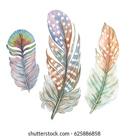 Set illustration with color feathers. Freehand drawing. Watercolor drawing