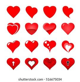 Set illustration of heart