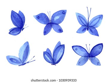 A set of illustrations of blue watercolor butterflies. A simple isolated image of an animal on a white background. Drawing an insect handmade.