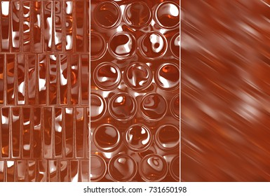 A set of illustrations with brown abstract - three background