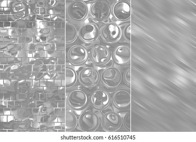 A set of illustrations with grey abstract - three background