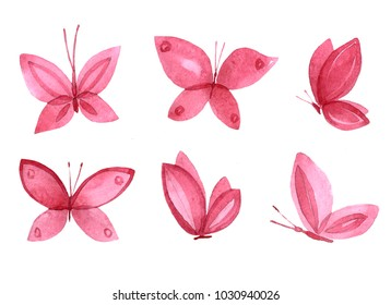 Set of illustrations of red watercolor butterflies. A simple isolated image of an animal on a white background. Drawing an insect handmade.