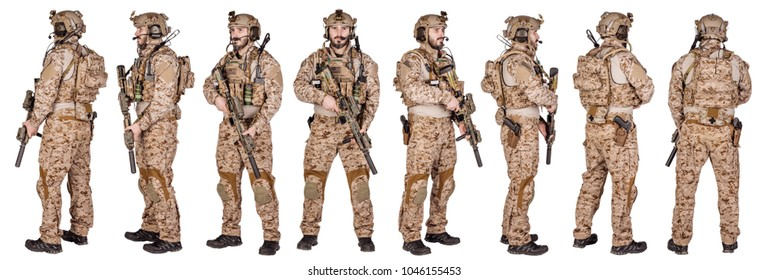 set image of american soldier with rifle on white background . army, military and people concept