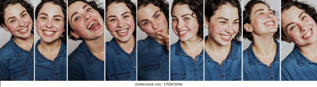Set of images of a beautiful laughing girl with curly hair. Carefree youth and happiness. Close-up. Vertical. Panorama format.