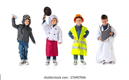 Set images of child dressed as a workman, pilot, chef and doctor