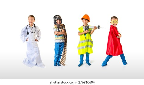 Set images of child dressed as a workman, hero, pilot, and doctor