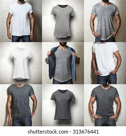 Set of images of different blank t-shirts