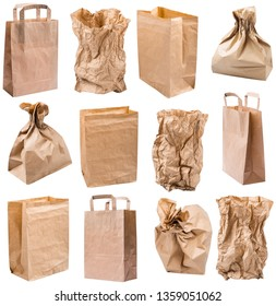 Set of images. Empty paper bags from the store is isolated on a white background in macro lens shot. The concept of environmental protection. Against pollution of seas and oceans by plastic rubbish.