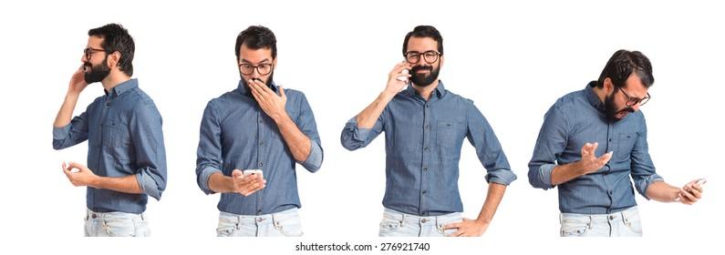 Set images of hipster man talking to mobile