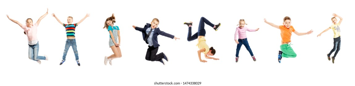 Set of images of jumping children of a different age. Isolated on a white background. Panorama.
