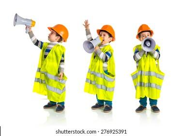 Set images of kid dressed like workman shouting by megaphone