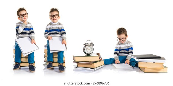 Set images of student kid sitting on books