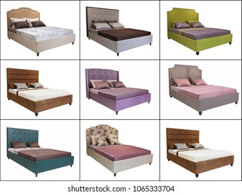 A set of images of various beds, isolated on a white background. Collage of various Double bed