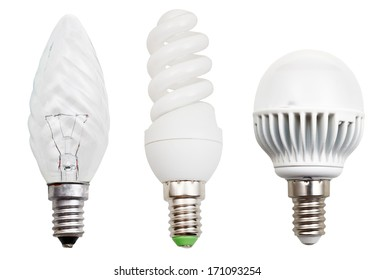 set of incandescent, compact fluorescent, LED light bulbs isolated on white background