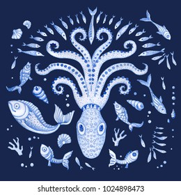 Set of indigo blue hand painted fairy tale sea animals. Watercolor painted fantasy fish, octopus, coral, sea shells, bubble, isolated on dark indigo blue background. Batik, tee shirt print, book cover