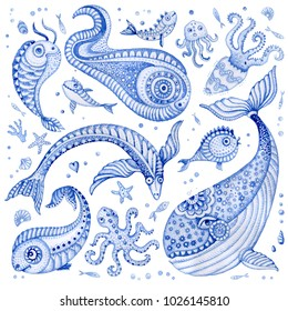 Set of indigo blue hand painted fairy tale sea animals. Watercolor painted fantasy fish, whale, coral, sea shells, bubbles, isolated on a white background. Batik, tee shirt print, book cover