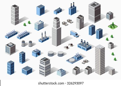 Set of industrial and residential urban isometric buildings, houses and homes in perspective
