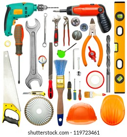 Set of industrial tools. Isolated on white