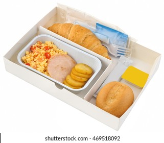 Set inflight meal in a box, on a white background