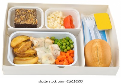 Set of inflight meal in a box, on a white background