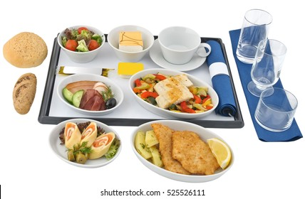 Set of inflight meal, on a white background