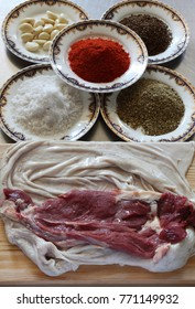 A set of ingredients to cook a loaf of peritoneum