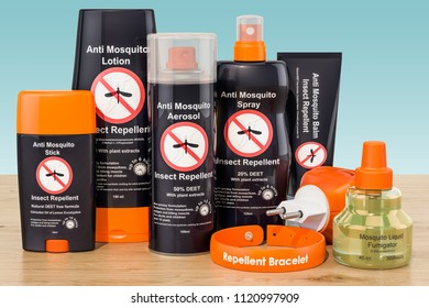 Set of insect repellent products on the wooden table, 3D rendering