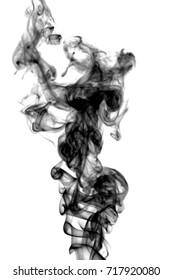 Set of interesting dark smoke swirl, abstract, background. White isolated.