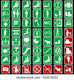 Set of international signs used in transportation means