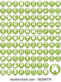 Set of internet glass buttons