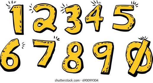 Set of isolated cartoon of shiny hand drawn numbers over white background