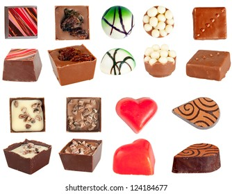 Set of isolated chocolates pralines. Colorful sweets at white background