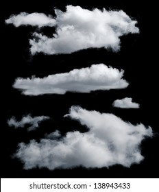Set of isolated clouds. Desighn elements