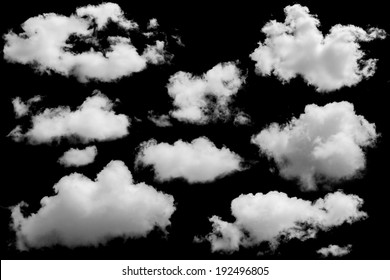 Set of isolated clouds over black. Design elements