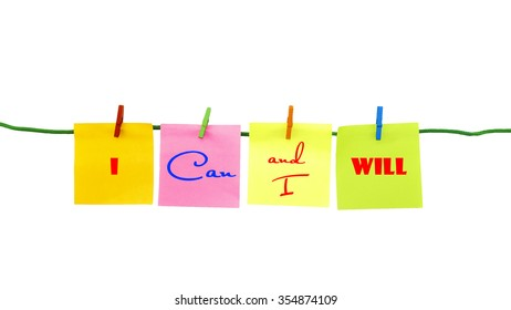 A set of isolated colorful sticky notes with written motivation words - motivational concept.