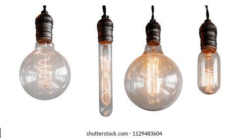 Set Isolated edison retro lamp on white background of different shapes.