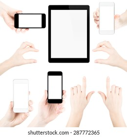 Set of isolated elemets from hands, fingers, tablets pc and phones with blank screen.