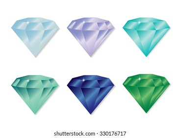 Set of isolated gem stones. Set of diamond design elements. Precious gem stones set of forms. Different colors and shades of diamonds