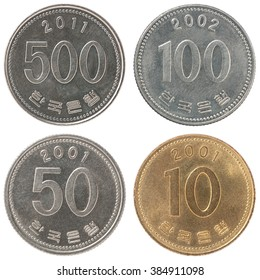 A set of isolated Greek coins in circulation on a white background