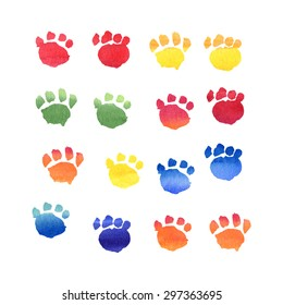 Set of isolated hand drawn watercolor animal footprints