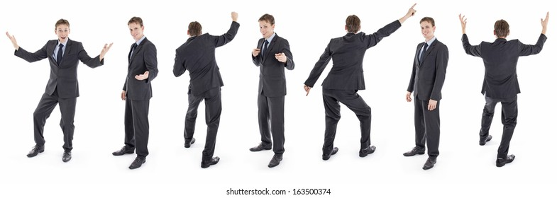 Set of isolated happy businessman in suit