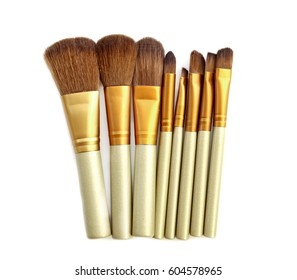 set of isolated make-up brushes