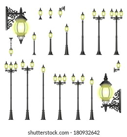 Set of isolated Street lanterns in style with different types of stands and openwork convoluted details