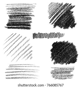 Set of isolated textured strokes. Use it as a texture, background making digital brushes or as a decoration element.
