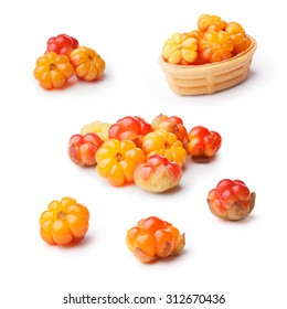 Set of isolated wild cloudberries (Rubus chamaemorus). Ingredient for Akvavit,Akutaq,  Lakkalikööri and Chicoutai liqueurs.