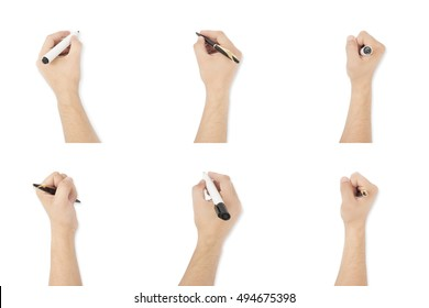 Set of Isolated writing hands with pen and sketch pen/marker on plain White Background