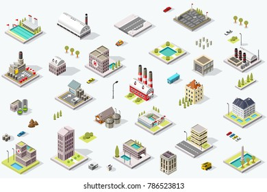 Set of isometric city buildings. Town district landscape with urban infrastructure streets and houses. 3D map illustration.