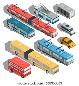 Set of isometric illustrations of municipal city transport buses, trolley bus, tram, taxi, shuttle taxi