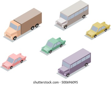 Set of isometric transport: car, lorry and bus